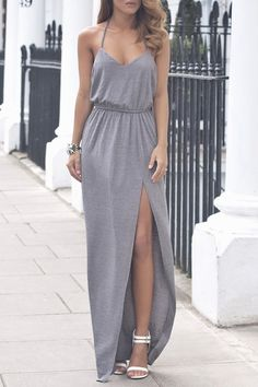 Solid Color Cami Backless Maxi Dress