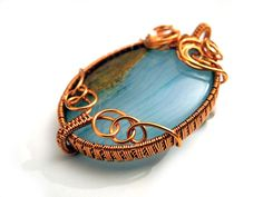 Wire wrapped Copper pendant with natural by NurrgulaJewellery, $66.00