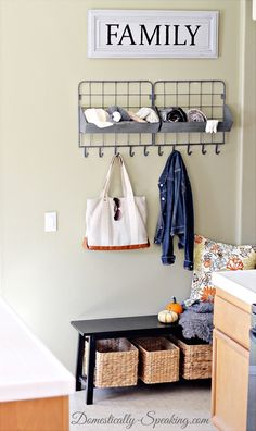 Mini Mudroom - Keep it all organized in a small space  THIS IS THE SIMPLEST IDEA TO PROVIDE FULL FUNCTION OF A MUDROOM..EVERY DOOR ENTRY WILL HAVE A SMALL SET UP LIKE THIS, MAIN ENTRANCE, WELL IT'S DEVOTED TOTHIS PRACTICALY