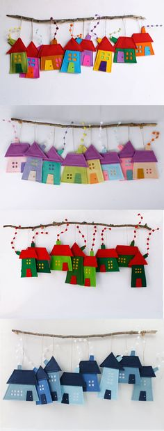 Felt House ornaments to hang. Four models. Felt House ornaments to hang. Four models. The post Felt House ornaments to hang. Four models. Art Wall Kids, Art For Kids, Crafts For Kids, Arts And Crafts, Wall Art, Art Children, Kids Fun, House Ornaments, Felt Ornaments