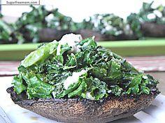 Kale Feta Stuffed Portobello Mushroom Caps ( 127 calories per serving!)