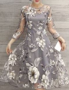 Shher Elegance! So Gorgeous! Charming Round Neck 3/4 Sleeve Floral Print See-Through Dress For Women #Sheer #Elegance #Elegant #Dresses #Jewel_Neck #Shades_of_Gray #Floral #Party_Dress #Cocktail_Dress #Fashion