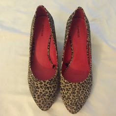 Express wedges Leopard print fabric uppers with almond toe.  Never worn.  NWOB. Express Shoes Wedges