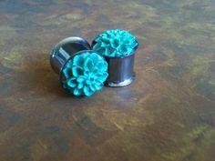 "9/16"" Stainless Steel Turquoise Flower Resin Plugs. $24.00, via Etsy."