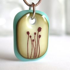 Poppies. A fused glass pendant necklace. by ellecools on Etsy
