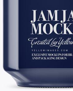 900ml Glossy Ceramic Jam Jar w/ Clamp Lid Mockup - Side View