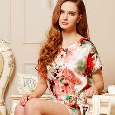 Floral silk nightshirt