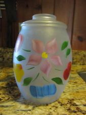 Snow Orchard on Frosted - Bartlett Collins Frosted Glass Fruit Pear Apple Canister Cookie Jar