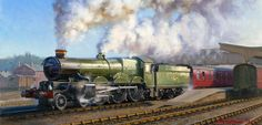 GWR Castle Class steam loco oil painting