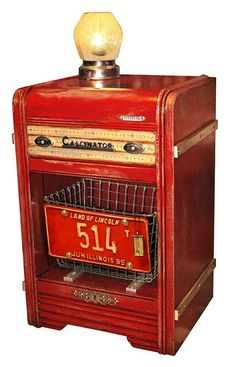 Vintage Red Painted/junked up Furniture using license plate, wire bin and yardsticks