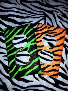 Fine Glittered Neon Orange and Green Zebra Outlet & Light Switch Set