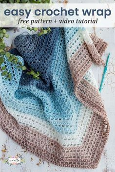 Crochet an easy lacy wrap with self striping yarn, no color changes! This shawl works up quick with my video tutorial and free pattern.