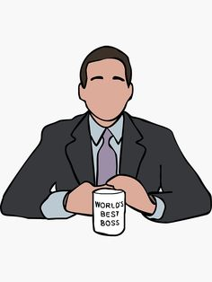 'Michael Scott The Office' Sticker by yowisy The Office Serie, The Office Show, Michael Scott The Office, Office Cartoon, Office Canvas, The Office Characters, The Office Stickers, Office Fan, Office Wallpaper
