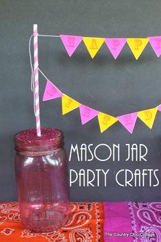 Mason Jar Party Crafts -- fun crafts for parties using mason jars.