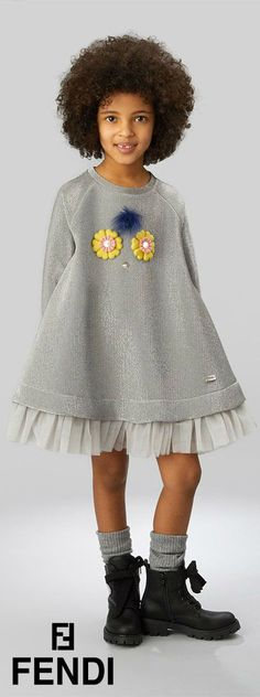 e400247a5be84 FENDI Girls Fendirumi  Piro-Chan  Silver Dress