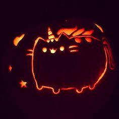 This stupidly adorable etching of Pusheen the cat.   31 Jack-O'-Lanterns That Don't Deserve To Die After Halloween