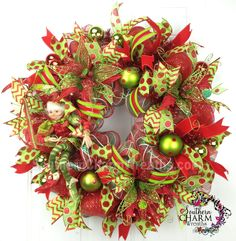 Deco Mesh Christmas Wreath Lime Green Red Polka Dot with RAZ elf by www.southerncharmwreaths.com