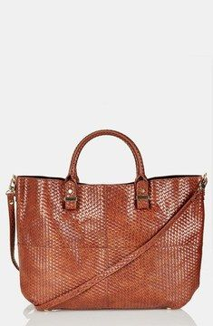 ShopStyle.com: Topshop 'Woven Lady' Faux Leather Tote, Extra Large $72.00