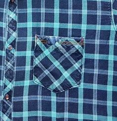 Indigo Checks Pocket Detailing Cotton Shirts For Men, Casual Shirts For Men, Men Casual, New Shirt Design, Shirt Designs, Mens Shirt Pattern, Winter Shirts, Pocket Pattern, Pocket Detail