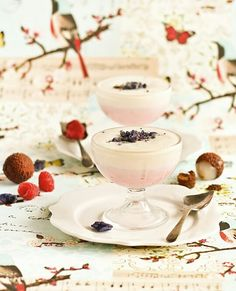 Lychee and Raspberry Mousse with Candied Violets   RaspberriCupcakes