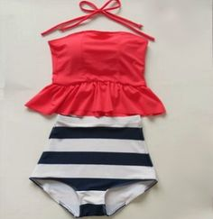 High Waisted Peplum Tankini Neon Pink/Navy & White Stripes $27.99
