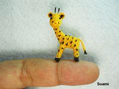 Cute Tiny Giraffe - Micro Crochet Miniature Animals - Standing Yellow Girrafe - Made To Order. $52.00, via Etsy.