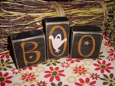 primitive halloween decorating ideas | BOO Halloween Ghost Wood Sign Letter Shelf Blocks Primitive Country ...