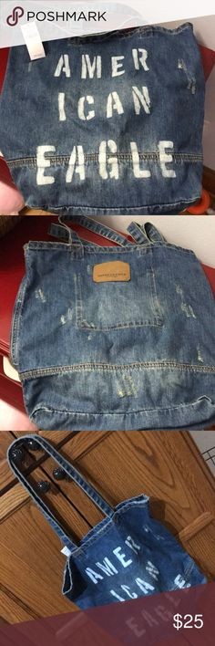 """American Eagle Denim Tote NWT Destroyed denim tote new with tags 15""""x16""""x4"""" American Eagle Outfitters Bags Totes"""