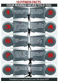 10 Fun Fitness Facts Your Mamma Never Told You-Infographic.  http://strength.stack52.com/10-fitness-facts-your-mamma-never-told-you/