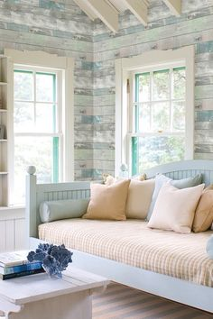 Dean Blue Distressed Wood Panel Wallpaper by Brewster Home Fashions on @HauteLook