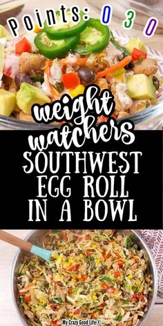 This Weight Watchers Egg Roll in a Bowl recipe is a delicious southwest egg roll in a bowl! With creamy chipotle lime dressing, it's a favorite Weight Watchers zero point meal for Blue and Purple plans. Weight Watcher Dinners, Plan Weight Watchers, Weight Watcher Points, Weight Watchers Dressing, Weight Watcher Breakfast, Weight Watchers Chili, Weight Watcher Desserts, Chipotle, Southwest Egg Rolls