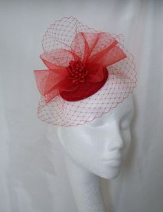 Red Elizabeth Crinoline & Veil Fascinator Hat By www.indigodaisyweddings.co.uk Specialising in stunning bespoke fascinators and formal hats in a wide range of colours, perfect for Royal Ascot and The Kentucky Derby. Plus all your wedding floral accessories including shoe clips, bandeau veils,vintage flapper bands, feather and flower fascinators, feather fans, fairy wands, wrist corsages, wedding bouquets & buttonholes. Worldwide Delivery. #wedding #fascinator #indigodaisy #ascot #headpiece
