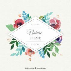 Watercolor floral Rautenrahmen
