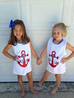 Girls Anchor Bow Swim Cover Ups by samanthasam Vinyl Monogram, Monogram Shirts, Vinyl Shirts, Beach Shirts, Summer Shirts, Cute Shirts, Silhouette Cameo Projects, Silhouette Design, Shirts For Girls