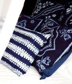 Dark blue shibori lumbar pillow Indigo tie dye cushion cover Long graphic abstract print pillow Tribal style decor Batik textile Minimal $48.00