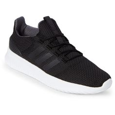 Adidas Black & White Neo Cloudfoam Ultimate Sneakers ($70) ❤ liked on Polyvore featuring shoes, sneakers, black, lace up shoes, black laced shoes, laced up shoes, adidas sneakers and black trainers