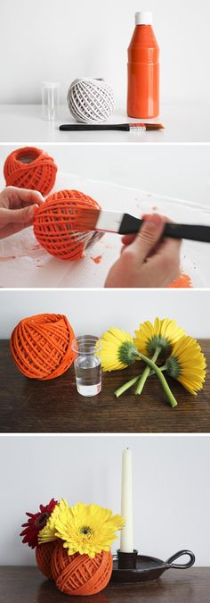 Paint a ball of yarn and insert a small container of water in the middle.