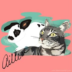 """Michele McCluggage pets: Boogie (cat) and Greyham (rabbit) Winner of the raffle """"Digital Portraits"""" by aileen©"""