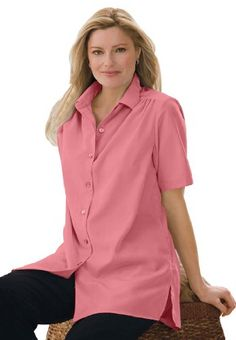 Woman Within Plus Size Shirt In Peachskin With Generous Fit for only $16.99