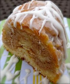 Spiced Eggnog Bundt Cake. A holiday favorite. See that swirl of spice goodness in the middle?  That my friends, is heaven on a plate!