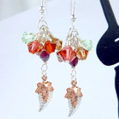 Swarovski Crystals Autumn Color Earrings with Leaf Charms 1.75 in long | dianesdangles - Jewelry on ArtFire