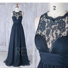 2017 Navy Chiffon Bridesmaid Dress, Ruched Sweetheart Wedding Dress, Scoop Lace Neck Prom Dress, A Line Evening Gown Full Length (J229)