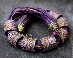 Купить колье из полимерной глины фиолет - медь, этно, бохо, восток, таня майорова