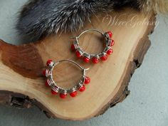 Red earrings with glass beads wire wrap/Boho styled by WireGalaxy