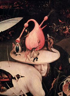 The Garden of Earthly Delights: Hell, detail in right wing of triptych, c.1500 (oil on panel) by Hieronymous Bosch (thought to be a self-portrait) / Prado, Madrid, Spain