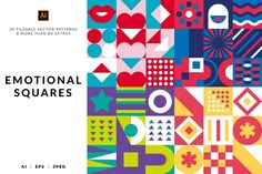 (Super Fun) Geometric Patterns | Pre-Designed Illustrator Graphics ~ Creative Market Vector Pattern, Pattern Design, Pastel Pattern, Square Patterns, Geometric Shapes, Geometric Patterns, Tile Patterns, Textures Patterns, Photoshop Design