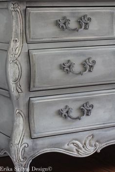 Items similar to SOLD! to Donna - Rare Ornate Vintage Hand Painted Louis XV Style French Provincial Dresser - Distressed Gustavian Swedish Grey Finish on Etsy Gray Painted Furniture, Grey Furniture, Chalk Paint Furniture, Refurbished Furniture, Shabby Chic Furniture, Furniture Makeover, Vintage Furniture, Wooden Furniture, Shabby Chic Dressers