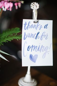 Watercolor calligraphy: http://www.stylemepretty.com/living/2015/05/05/mothers-day-treat-yoself-event/ | Photography: Emily Millay Photography - www.emilymillayphotography.com