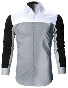 9da0a174de6fe FLATSEVEN Mens Premium Slim Fit Casual Solid Stretch Shirts (SH165) Pink