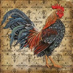 Rustic Rooster-jp2122 Painting